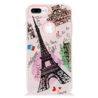 Insten Pink/ Black Eiffel Tower TPU Rubber Candy Skin Case Cover For Apple iPhone 7 Plus
