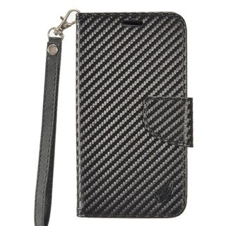 Insten Black Carbon Fiber Leather Case Cover Lanyard with Stand/ Wallet Flap Pouch For LG X Power