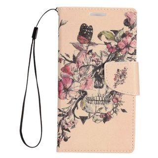 Insten Beige/ Pink Flowers Leather Case Cover Lanyard with Stand/ Wallet Flap Pouch For Alcatel Dawn/ Ideal/ Streak