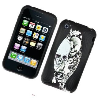 Insten Black/ White Skull Soft Silicone/ PC Dual Layer Hybrid Rubber Case Cover For Apple iPhone 3G/ 3GS