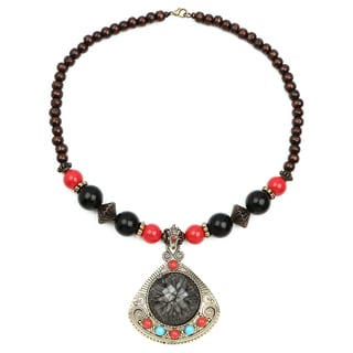 Liliana Bella Oxidized Gold-plated Brown Wood Bead Grey Glass Stone Necklace