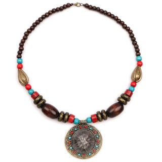 Liliana Bella Oxidised Gold Plated Multicolour Wooden Beaded Necklace with Glass Stone
