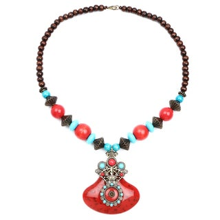 Liliana Bella Oxidised Goldplated Red/ Turquoise Wooden Beaded Necklace