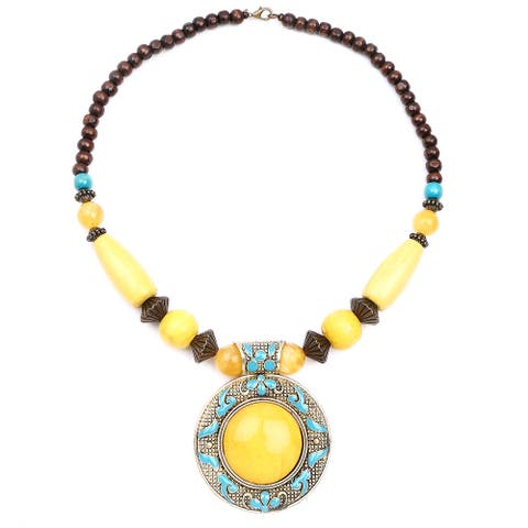 Liliana Bella Oxidized Gold-plated Yellow Glass Stone and Turquoise and Brown Wooden Beaded Necklace