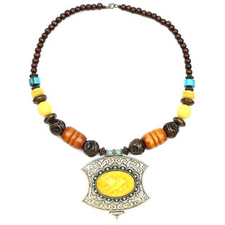 Liliana Bella Oxidized Goldplated Turquoise and Brown Wood Bead Yellow Stone Necklace