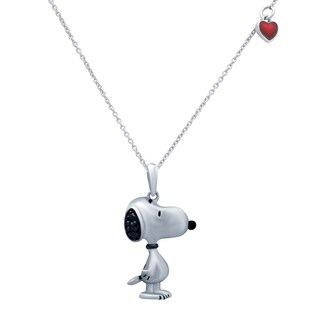 Peanuts Snoopy Sterling Silver Diamond Accent Red Heart Pendant