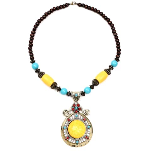 Liliana Bella Oxidized Goldplated Yellow Glass Stone Brown Wooden Beaded Necklace