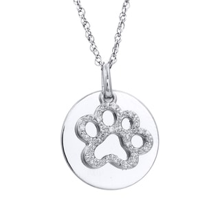 Tender Voices Sterling Silver Diamond Accent Paw Print Pendant