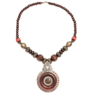 Liliana Bella Oxidized Goldplated Brown Wood Beaded Necklace with Red Glass Stone