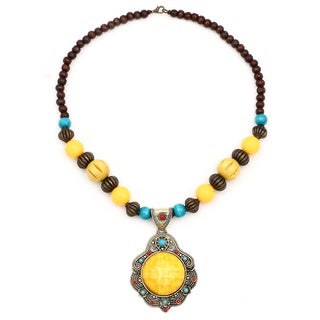 Liliana Bella Oxidized Gold Plated Tri-color Glass and Wooden Beaded Statement Necklace