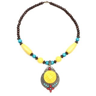 Liliana Bella Oxidized Gold-plated Yellow Wood Bead Glass Stone Necklace
