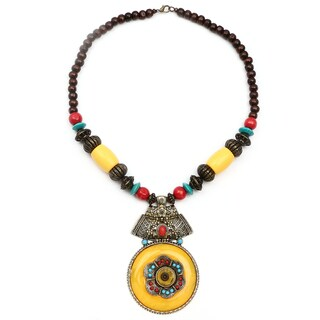 Liliana Bella Oxidised Gold-plated Turquoise/Brown Wood Bead Yellow Glass Stone Necklace