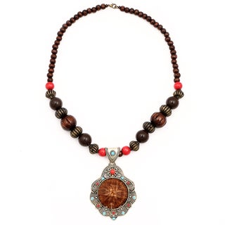 Liliana Bella Oxidized Goldplated Brown Wood Bead Glass Stone Necklace