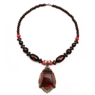 Liliana Bella Oxidized Gold-plated Brown Wood Bead Glass Stone Necklace