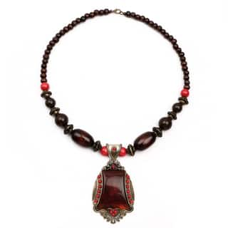 Liliana Bella Oxidized Gold-plated Brown Wood Bead Glass Stone Necklace|https://ak1.ostkcdn.com/images/products/14560998/P21110264.jpg?impolicy=medium