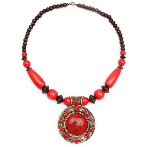 Liliana Bella Oxidised Gold-plated Red Wood Bead Glass Stone Necklace
