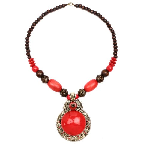Liliana Bella Women's Oxidised Goldplated Red and Brown Wooden Beaded Necklace with Glass Stone