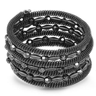Liliana Bella Rhodium-plated Black Beaded Handmade Wrap Bracelet