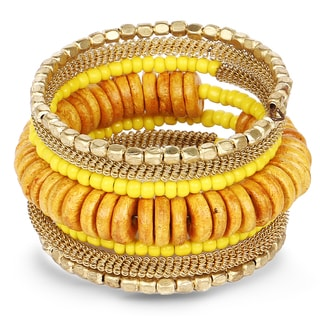 Liliana Bella Handmade Gold-plated Yellow Beaded Wrap Bracelet