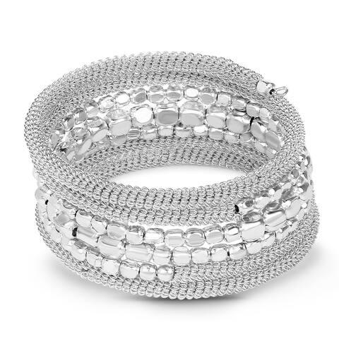 Liliana Bella Handmade Oxidised Silver Beaded Wrap Bracelet - White