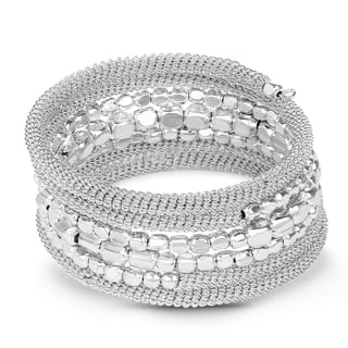 Liliana Bella Handmade Oxidised Silver Beaded Wrap Bracelet - White