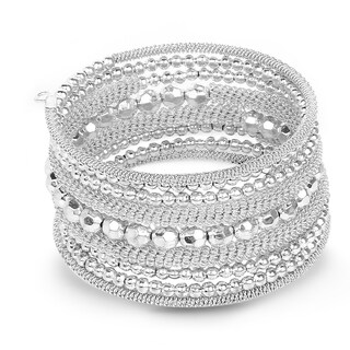 Liliana Bella Oxidized Silver Beaded Handmade Wrap Bracelet - White