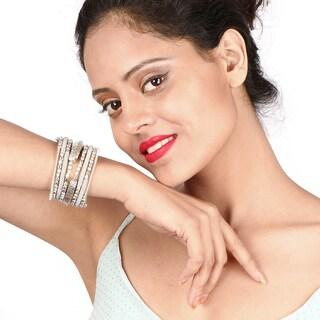 Liliana Bella Oxidized Silver Beaded Handmade Wrap Bracelet