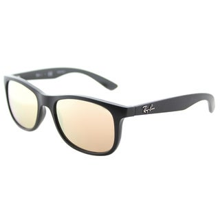 Ray-Ban RJ 9062 70132Y Matte Black on Black Plastic Square Sunglasses Copper Flash Mirror Lens