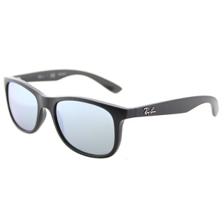 Ray-Ban RJ 9062 701330 Matte Black on Black Plastic Square Sunglasses Grey Flash Mirror Lens