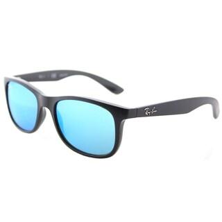 Ray-Ban RJ 9062 701355 Matte Black on Black Plastic Square Sunglasses Blue Flash Mirror Lens