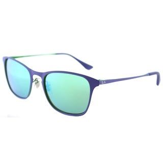 Ray-Ban RJ 9539 255/3R Rubber Blue Metal Square Sunglasses Green Flash Mirror Lens
