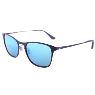 Ray-Ban RJ 9539 257/55 Rubber Blue Metal Square Sunglasses Blue Flash Mirror Lens