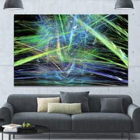 Designart 'Green Blue Magical Fractal Pattern' Extra Large Abstract Canvas Wall Art