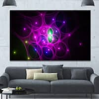 Designart 'Pink Fractal Space Circles' Extra Large Abstract Canvas Art Print