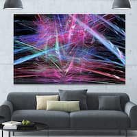 Designart 'Pink Blue Magical Fractal Pattern' Extra Large Abstract Canvas Wall Art