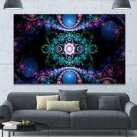Designart 'Cabalistic Blue Fractal Pattern' Extra Large Abstract Canvas Art Print