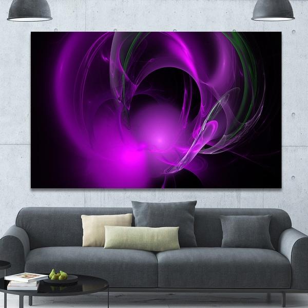 Designart 'Purple Fractal Galactic Nebula' Extra Large Abstract Canvas Wall Art
