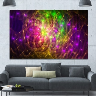 Designart 'Purple Green Symphony of Colors' Extra Large Abstract Canvas Wall Art - Purple/Green