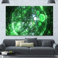 Designart 'Green Fractal Planet of Bubbles' Extra Large Abstract Canvas Wall Art
