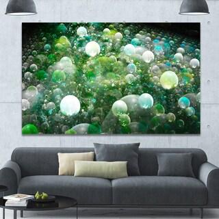 Designart 'Green Fractal Molecule Pattern' Extra Large Abstract Canvas Wall Art - Green