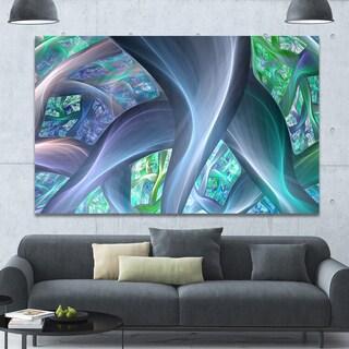 Designart 'Blue Fractal Exotic Plant Stems' Extra Large Canvas Art Print - Blue