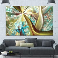 Designart 'Golden Fractal Exotic Plant Stems' Extra Large Canvas Art Print