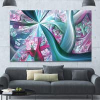 Designart 'Blue Pink Fractal Plant Stems' Extra Large Canvas Art Print