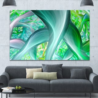 Designart 'Green Fractal Exotic Plant Stems' Extra Large Abstract Canvas Wall Art - Green