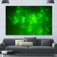 Designart 'Bright Green Fractal Sky with Stars'Extra Large Abstract Canvas Art Print