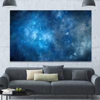 Designart 'Clear Blue Starry Fractal Sky' Abstract Artwork on Canvas