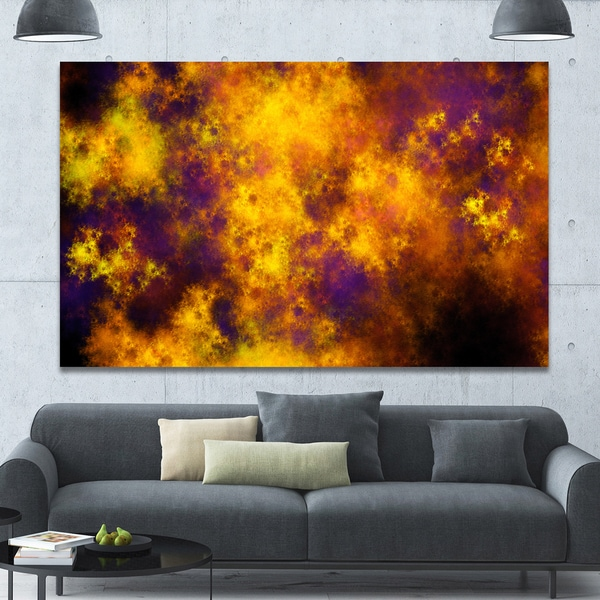 Designart 'Cloudy Orange Starry Fractal Sky' Abstract Artwork on Canvas