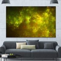 Designart 'Clear Golden Starry Fractal Sky' Abstract Artwork on Canvas