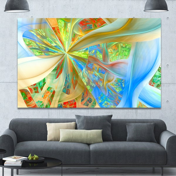 Designart 'Yellow Fractal Exotic Plant Stems' Extra Large Canvas Art Print