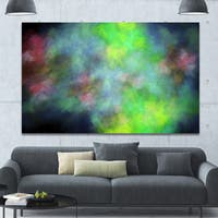 Designart 'Green Blue Sky with Stars'Extra Large Abstract Canvas Art Print